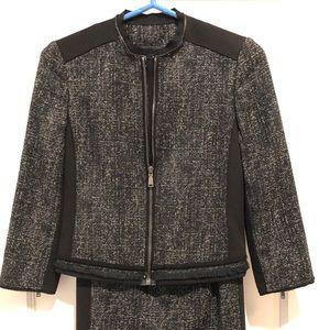 Elie Tahari Black Jacket Skirt Suit Sz 0